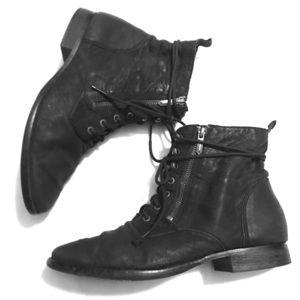 Sam Edelman Black soft leather lace up boots 🥾